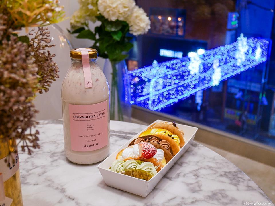 LE BREAD LAB 釜山南浦洞粉紅系咖啡廳 草莓奶油蛋糕捲&生草莓牛奶 韓國自由行